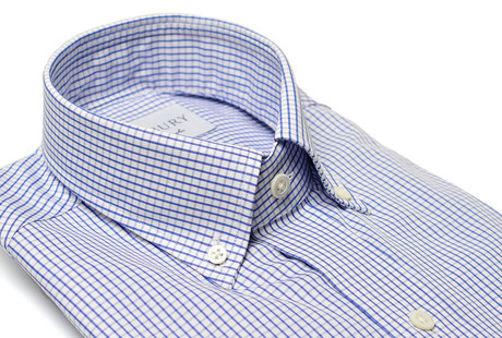 The Blue Box Check Button Down Slim Fit collar