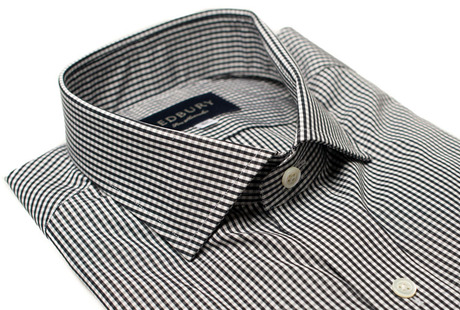 The Black Cross Gingham Slim Fit collar