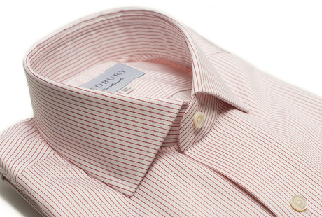 The Red Henley Stripe Twill Slim Fit collar