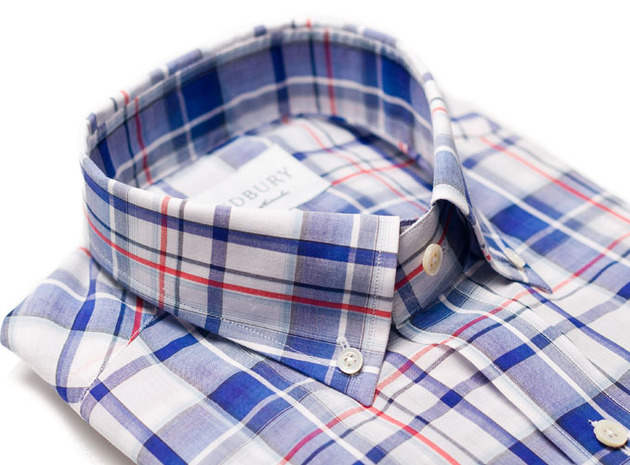 The Blue Crawford Plaid Slim collar