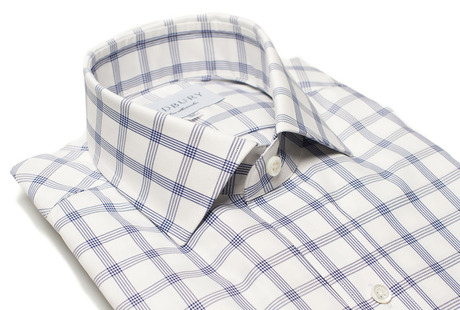 The Navy Cameron Check Slim Fit collar