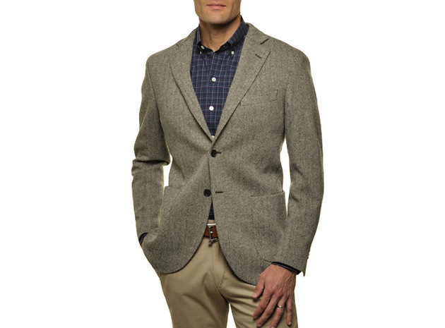The Grey Herringbone Sport Coat Slim Fit collar