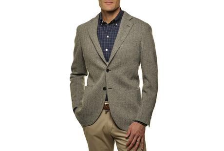 The Grey Herringbone Sport Coat Slim Fit collar