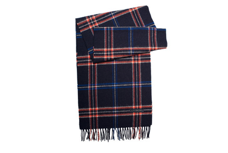 The Kinney Windowpane Lambswool Scarf modelcrop
